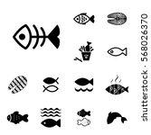 set of fish vector icon... | Shutterstock .eps vector #568026370