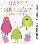 monster birthday party... | Shutterstock .eps vector #568038328