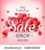 valentine's day sale background ... | Shutterstock . vector #568046830