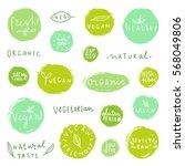 set of food badges. vegan ... | Shutterstock .eps vector #568049806