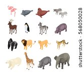 Stock vector isometric wild animals isolated on white background set of wild animals from various climatic 568050028