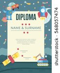 diploma cartoon template.... | Shutterstock .eps vector #568057474