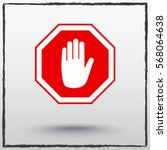 no entry hand sign icon  vector ... | Shutterstock .eps vector #568064638
