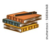 color three notebooks with a... | Shutterstock .eps vector #568066468