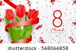Greeting Banner With Red Tulip...