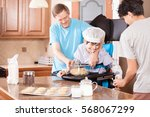 disabled boy standing in... | Shutterstock . vector #568067299