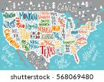 usa map with states   pictorial ... | Shutterstock .eps vector #568069480