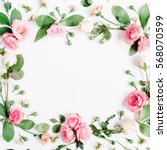 round frame made of pink and... | Shutterstock . vector #568070599