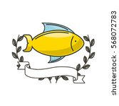 fish icon with decorative...   Shutterstock .eps vector #568072783