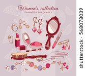 women's collection make up... | Shutterstock .eps vector #568078039