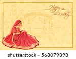 vector design of indian woman... | Shutterstock .eps vector #568079398
