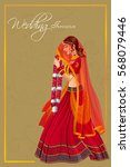 vector design of indian woman... | Shutterstock .eps vector #568079446