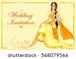 vector design of indian woman... | Shutterstock .eps vector #568079566