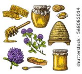 honey set. jar  hive  clover ... | Shutterstock .eps vector #568082014