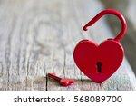 red padlock heart shape... | Shutterstock . vector #568089700