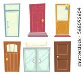 doors icons set house cartoon... | Shutterstock .eps vector #568092604