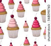 seamless pattern with cupcakes | Shutterstock .eps vector #568098760