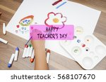 watercolor and kid drawing on... | Shutterstock . vector #568107670