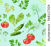 vegetable seamless pattern with ... | Shutterstock . vector #568117324