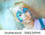 pretty girl child with face... | Shutterstock . vector #568124944