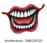 illustration of smiling mouth... | Shutterstock . vector #568129210