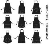 black apron set isolated on... | Shutterstock .eps vector #568149886