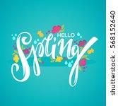 hello spring  vector template... | Shutterstock .eps vector #568152640