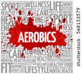 aerobics word cloud  health... | Shutterstock . vector #568153579