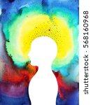 human head  chakra power ... | Shutterstock . vector #568160968