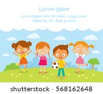 happy jumping kids with summer... | Shutterstock .eps vector #568162648