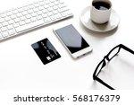 credit card  keyboard ... | Shutterstock . vector #568176379