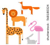 wildlife zoo collection of cute ... | Shutterstock .eps vector #568180324