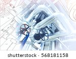 wireframe computer cad design... | Shutterstock . vector #568181158