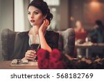 elegant brunette lady with... | Shutterstock . vector #568182769