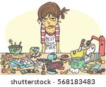 angry  stressed woman making a... | Shutterstock .eps vector #568183483