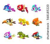 little cute cartoon lying birds ... | Shutterstock .eps vector #568185220