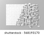 blank white unfinished puzzles... | Shutterstock . vector #568193170