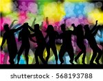 dancing people silhouettes.... | Shutterstock .eps vector #568193788