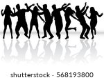 dancing people silhouettes.... | Shutterstock .eps vector #568193800