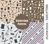 barber shop vintage seamless... | Shutterstock .eps vector #568197088