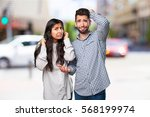 young couple nervous | Shutterstock . vector #568199974