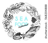 Vector Hand Drawn Seafood Logo...