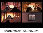 vector roof halloween horror... | Shutterstock .eps vector #568207324