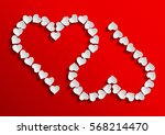 two inverted hearts with shadow ...   Shutterstock .eps vector #568214470