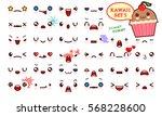 set of cute kawaii emoticon... | Shutterstock .eps vector #568228600