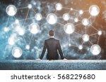businessperson on rooftop... | Shutterstock . vector #568229680