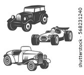 set of retro cars icons...