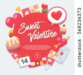 sweet valentine day   vector... | Shutterstock .eps vector #568236373