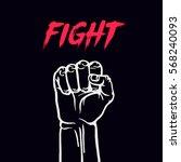 fist symbol hand sign art. hand ... | Shutterstock .eps vector #568240093