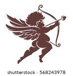 vector cupid silhouette... | Shutterstock .eps vector #568243978